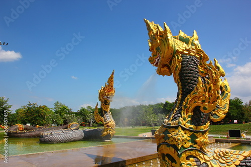 Poster Turquie colorful naga statue in Thai culture with blue sky bakground