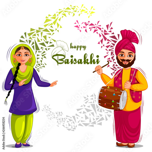 Fotografie, Obraz vector illustration of Greetings background for Punjabi New Year festival Vaisak