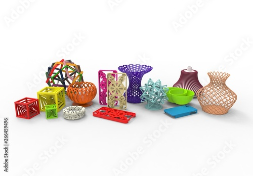 Fotografie, Obraz  3D rendering of collection of colored complex typical 3D print products demonstr