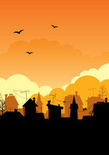 Roof Silhouettes.Dawn City.An Illustration Of A Sunset
