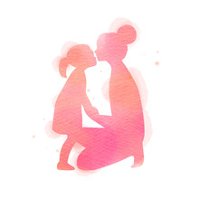 Happy Mother's Day. Side View Of Happy Mom With Daughter  Silhouette Plus Abstract Watercolor Painted.Happy  Mother's Day. Double Exposure Illustration. Digital Art Painting. Vector Illustration.