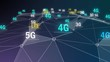 4k 3G,4G,5G symbol with rotateing earth,web tech blue background.