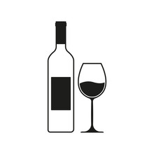 Wine Bottle With Wine Glass Icon Or Silhouette. Alcohol Symbol. Vector Illustration.