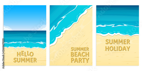 Montage in der Fensternische Turkis Hello summer, Beach party and Summer holiday banners with sea or ocean and sandy beach. Travel and vacation background template. Vector illustration.