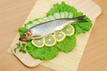 Plate With Sardines Tomatoes And Aromatic Herbs On Gray Isolated Background