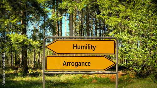 Street Sign to Humility versus Arrogance Fototapeta