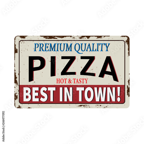 Pizza red vintage rusty metal sign on a white background, vector illustration Wall mural