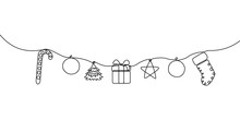 Continuous Line Hanging Candy, Ball, Christmas Tree, Gift Box, Star And Sock. Merry Christmas And Happy New Year Theme. Vector Illustration.