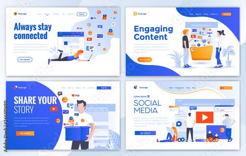 Photo  Flat Modern design of website template - Social media