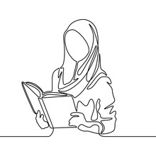 Continuous Line Muslim Woman Student Reading A Book. Vector Illustration.