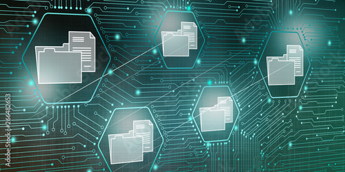Fotografie, Obraz  Illustration of digital data concept