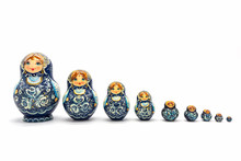 Matryoshka Dolls Isolated On A White Background. Russian Wooden Doll Souvenir.