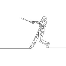 Continuous One Line Baseball Player Batter Hit The Ball