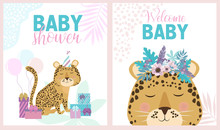 Set Of Cute Cards For Baby Shower With Fun Animals. Editable Vector Illustration.