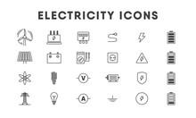 Electricity Line Icon Set. Vec...