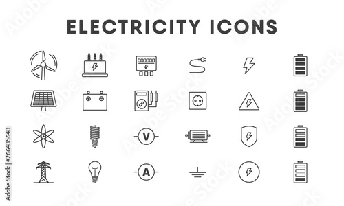 Electricity line icon set. Vector Canvas Print