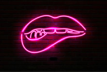 Pink Neon Luminous Lips On Bri...