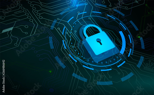 Photographie  Access control, Blue padlock and HUD circle elements on microchip background