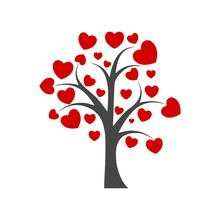 Tree With Leafs Of Hearts Icon...