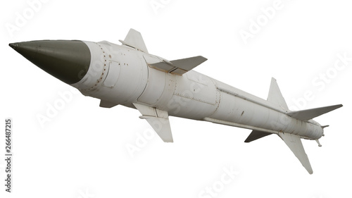 Valokuva A missile with a warhead on a white background isolated