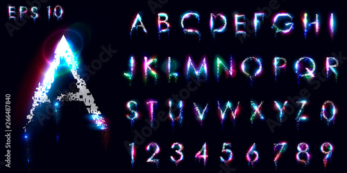 Fotomural  Crumbling and luminous font, English letters and numbers, Distorted symbols, Neon glow