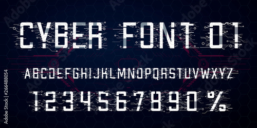 Digital vector Font design  Letters, Numbers and percent