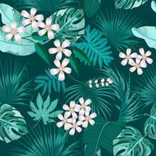 Vector Tropical Seamless Pattern In Quetzal Green Colors.
