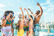 canvas print picture - Happy friends drinking champagne in summer boat party - Young people having fun celebrating and dancing - Youth lifestyle, exclusive fest and vacation concept - Main focus on center guys faces