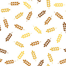 Wheat Seamless Pattern. Vector Seamless Pattern With Silhouettes Of Wheat Ears. Whole Grain, Natural, Organic Background For Bakery Package, Bread Products. Vector Illustration. Corn Texture. - Vector