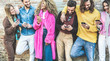 Leinwanddruck Bild - Trendy friends using smartphones - Millennials generation addiction to new technology trends - Concept of youth, commute, tech, social and friendship - Focus on hands holding mobile phones