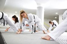 Sports And Para-sports Athletes Training Martial Art Of Taekwondo Together