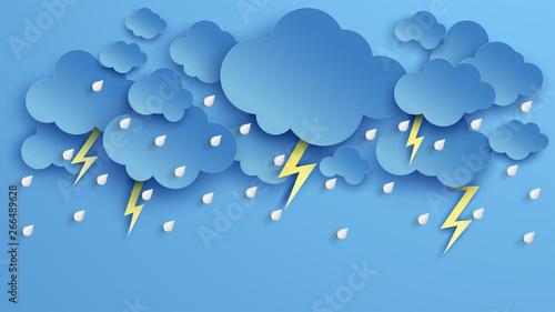 Obraz na plátně Illustration of Cloud and rain on blue background