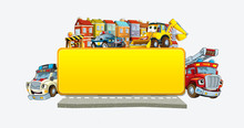 Cartoon Scene With Banner - Title Page With City Facade Cars And Street With Police Fire Brigade Ambulance And Digger - Illustration For Children