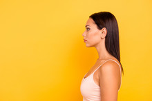 Close Up Side Profile Photo Beautiful She Her Lady Look Empty Space Not Smiling Zombie Facial Expression No Emotions Stare Wear Casual Pastel Tank-top Outfit Clothes Isolated Yellow Bright Background