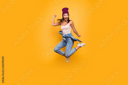 Obraz Full length body size view photo of funky funny lady do movements scream shout loud shocked satisfied raise hands dressed denim trousers pastel summer outfit isolated on colorful background - fototapety do salonu