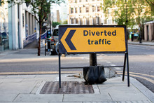 Yellow Diverted Traffic Road S...