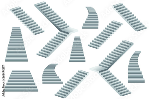Fotografia Set of stairs vector illustration isolated on white background.