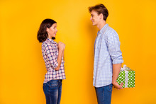 Close Up Photo Of Pair In Love He Him His She Her Lady Boy Glad To Give Present To Dear Girl Expecting Wondered What In Behind Back Wearing Casual Plaid Shirts Outfit Isolated On Yellow Background