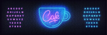 Cafe Neon Vector Template. Glowing Bright Lettering Sign For Coffee Shop Cafe, Restaurant, Bar.