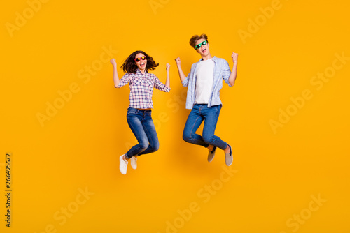 Fényképezés  Close up full length body size photo of pair in summer specs he him his she her
