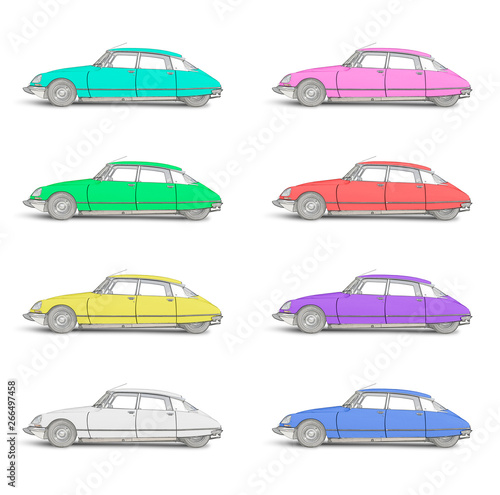 Fotografia Eight colored Sketches of a Streamlined 1968 French automobile