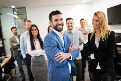 Aluminium Prints Personal Portrait of business team posing in office