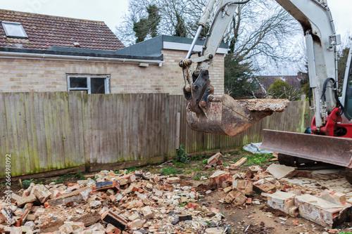 Photo Demolition of the garage in the garden, selective focus