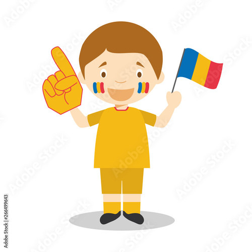 Fototapety, obrazy: National sport team fan from Romania with flag and glove Vector Illustration