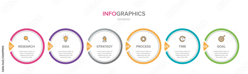 Fototapeta Infographic design with icons and 6 options or steps. Thin line vector. Infographics business concept. Can be used for info graphics, flow charts, presentations, web sites, banners, printed materials.