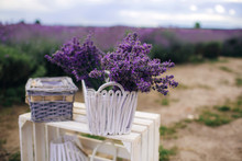 Beautiful Lavender Bouquet In A White Wicker Basket On White Wooden Bench. Bunch Of Aroma Violets Lavender Flower. Lavender Flowers In Design White Basket For Spa Aroma Therapy