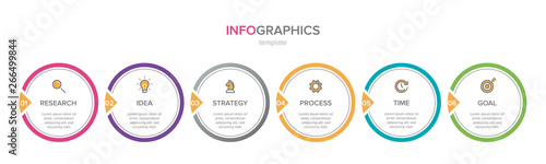 Obraz Infographic design with icons and 6 options or steps. Thin line vector. Infographics business concept. Can be used for info graphics, flow charts, presentations, web sites, banners, printed materials. - fototapety do salonu