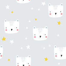 Cute Childish Seamless Pattern With Polar Bear And Stars. Pastel Nordic Print. Vector Hand Drawn Illustration.