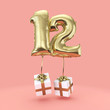 canvas print picture - Number 12 birthday celebration gold foil helium balloon with presents. 3D Render