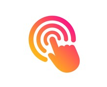 Hand Click Icon. Finger Touch Sign. Cursor Pointer Symbol. Classic Flat Style. Gradient Click Icon. Vector